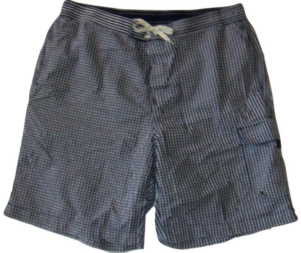 ac6180b6cc Lands' End Mens Size Large Blue & White Gingham Swim Trunks Cargo Board  Shorts #LandsEnd #BoardShorts