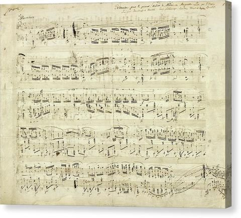 Handwritten Sheet Music By Frederic Chopin – Canvas Print – Wallasso – The Wall Art Superstore