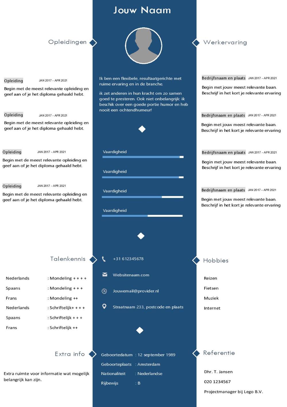 Download dit cv template in Word formaat Cv sjabloon