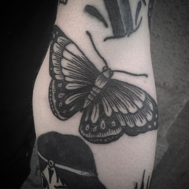 Excellent Traditional Blackwork Tattoos By Jack Ankersen Butterfly Tattoo Vintage Butterfly Tattoo Traditional Butterfly Tattoo