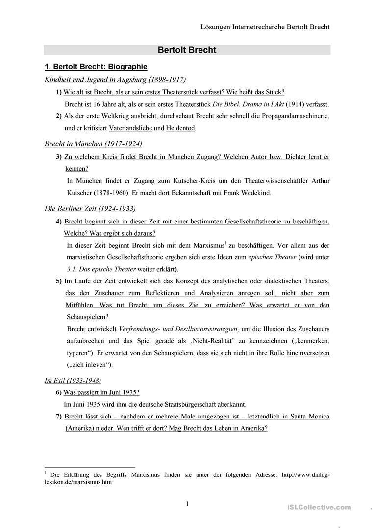 Lösungen Internetrecherche Bertolt Brecht   Arbeitsblätter DaF/DaZ ...