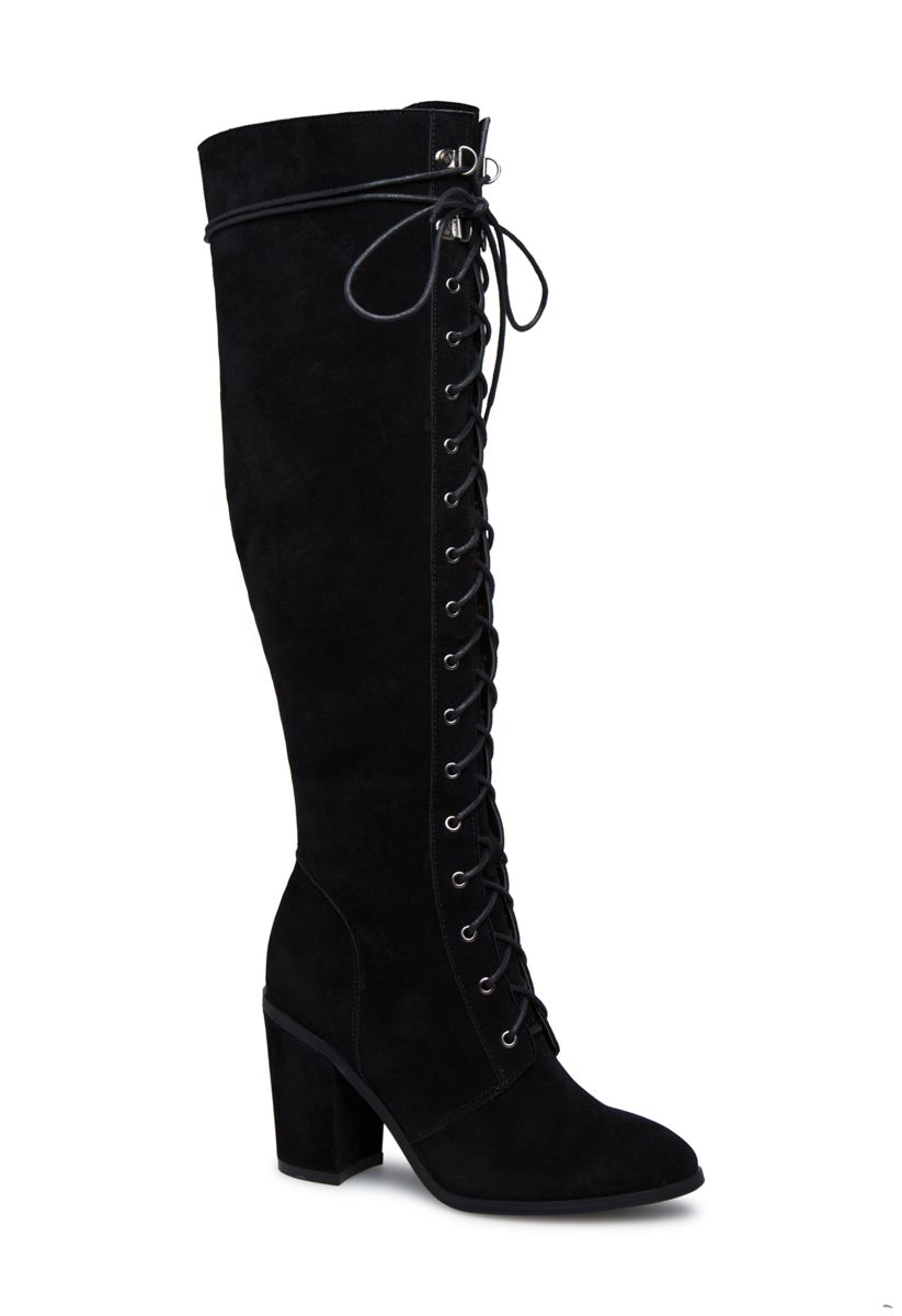 33014b03ced04 Shoedazzle Boots - Knee Length Nessa Lace-Up Heeled Boot Womens Black Size  Wide Calf