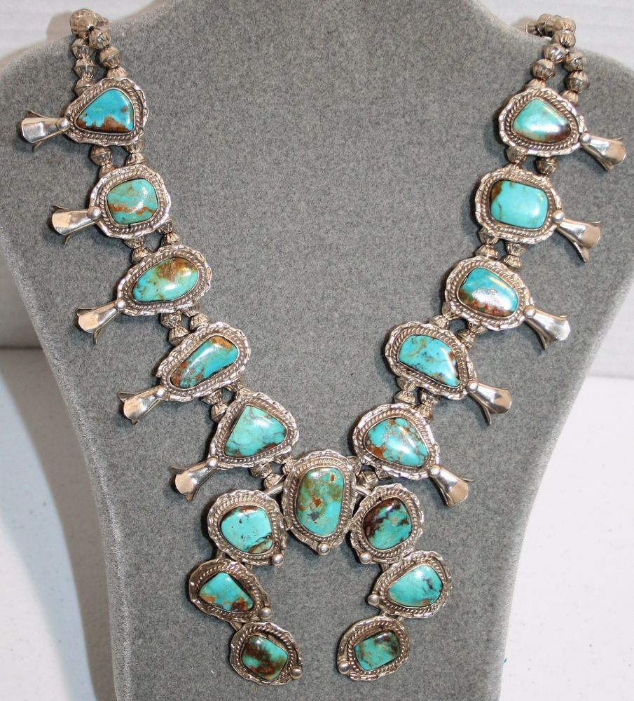 51591578d Native American Old Pawn Turquoise Sterling Squash Blossom Necklace 26
