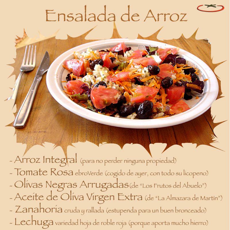 Ensalada De Arroz Con Tomate Rosa Ebroverde Otros Ingredientes Olivas Negras Arrugadas Lechuga Zanahoria Rallad Ensalada De Arroz Recetas De Tomate Tomate