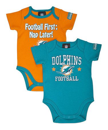 77b077ae7 Take a look at this Teal & Orange Miami Dolphins Bodysuit Set - Infant by  NFL on #zulily today!