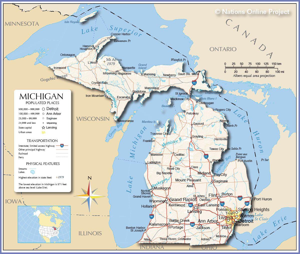 Homeschooling In Michigan Map Of Michigan Michigan State Map