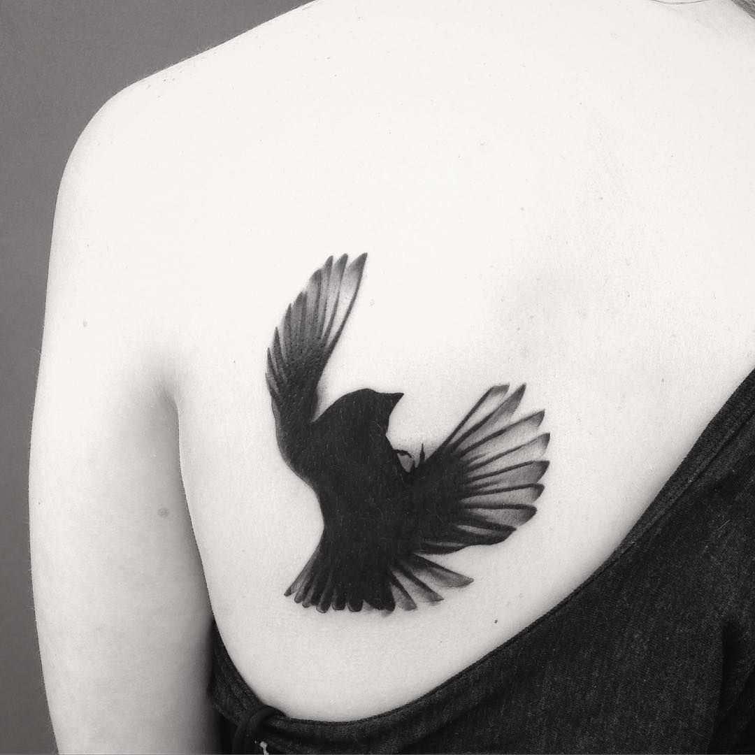 """""""Here's a tattoo I did a couple of years ago, a falling blackbird (not my design, but from an actual picture) I really like this one. Simplicity."""""""