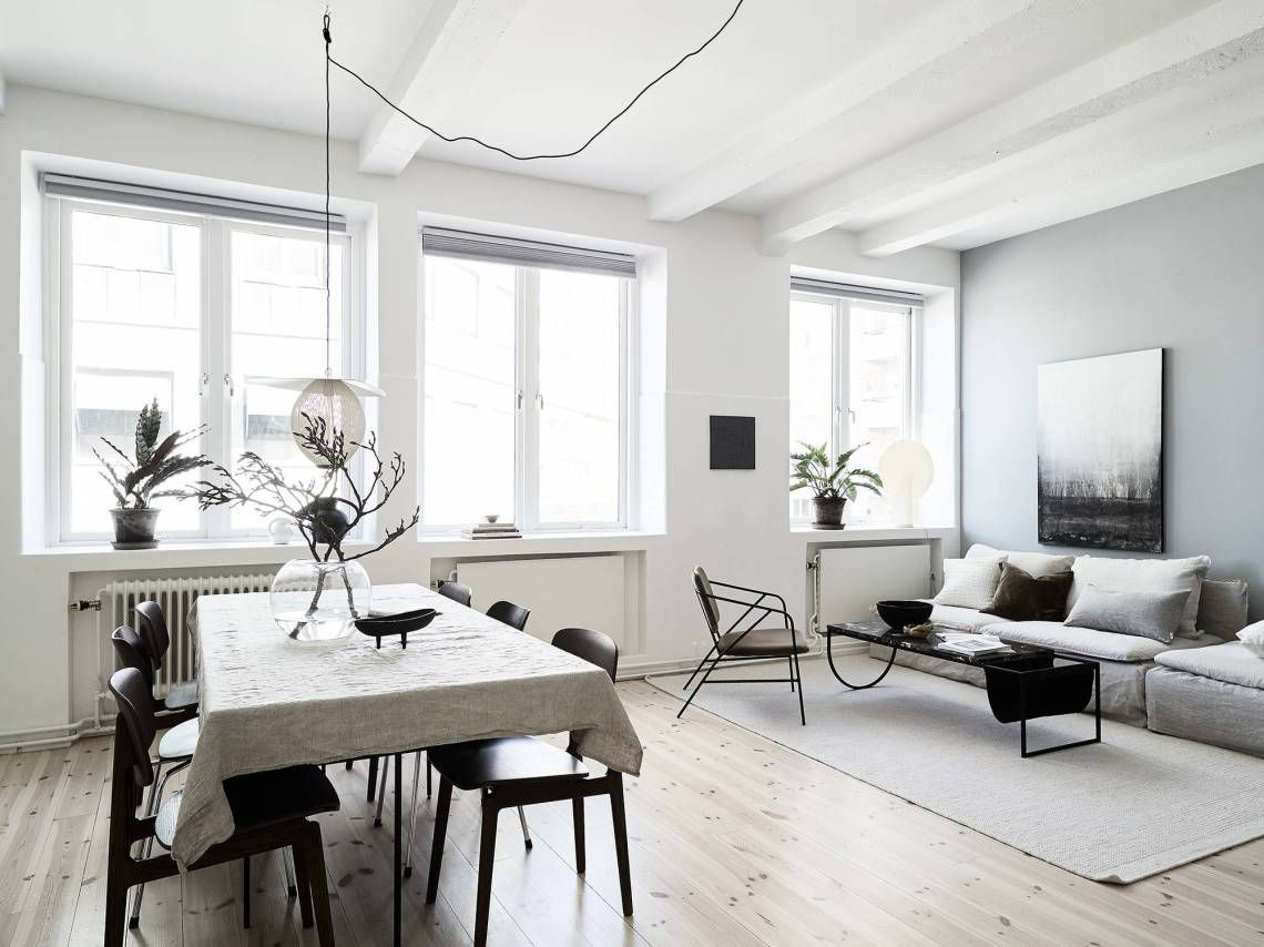 Home with blue grey accents   COCO LAPINE DESIGN   Scandinavian design living room, Living room ...