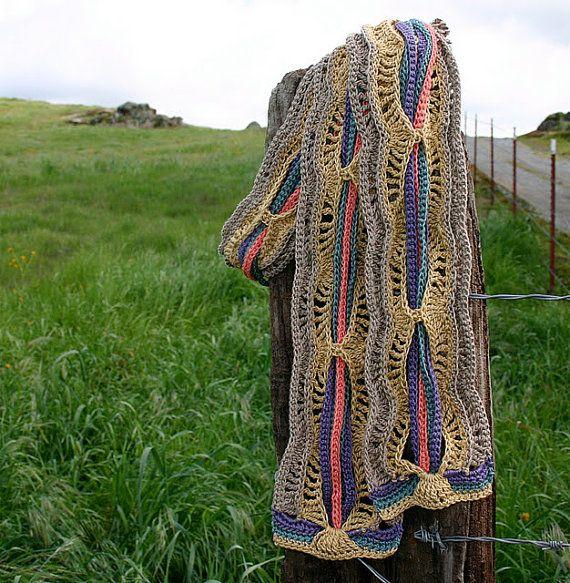 Patrón Bufanda de ganchillo una maraña de color Bufanda Por ...