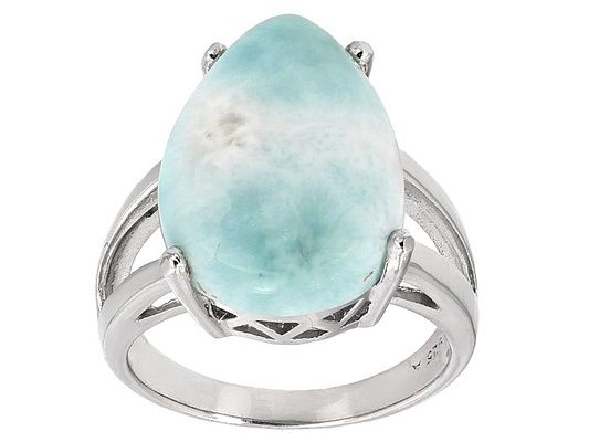 18x13mm Pear Shape Cabochon Blue Larimar Sterling Silver Solitaire Rin