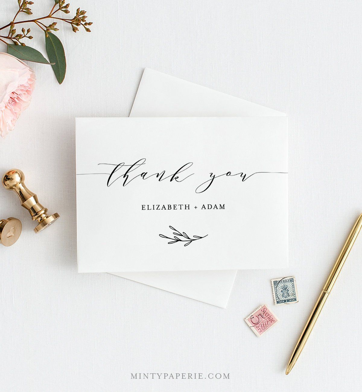 Self Editing Thank You Template Folded Thank You Note Card Etsy Note Card Template Thank You Note Cards Thank You Template