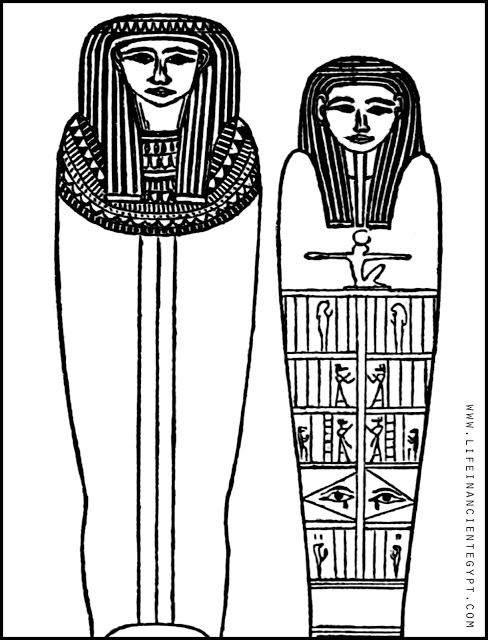 Ancient Egypt Sarcophagus Coloring Page (Man and Woman
