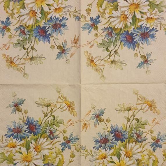 Cornflower and Daisies  - Set of 4 Napkins - IHR