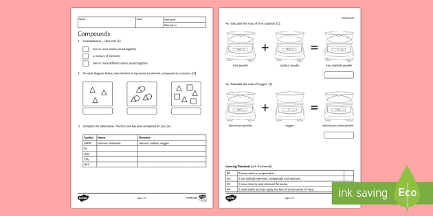KS3 Compounds Homework Activity Sheet - Homework, compound ...