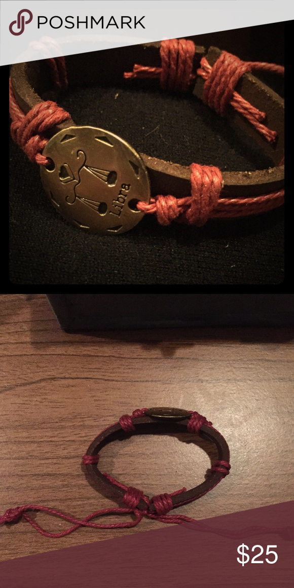 💥only 2💥Libra Adjustable Leather Bracelet Adjustable Libra zodiac brown leather bracelet with dark red detailing 🚨final price🚨 Jewelry Bracelets