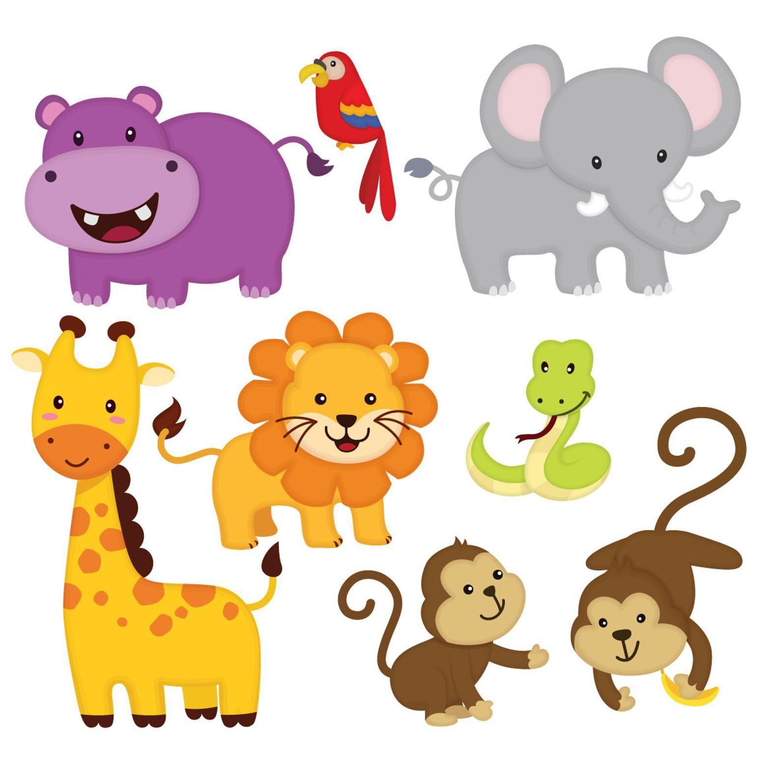 Jungle Animal Clip Art Jungle Friends Sticker Jungle Animal Etsy In 2021 Cute Animal Clipart Animal Clipart Free Animal Clipart
