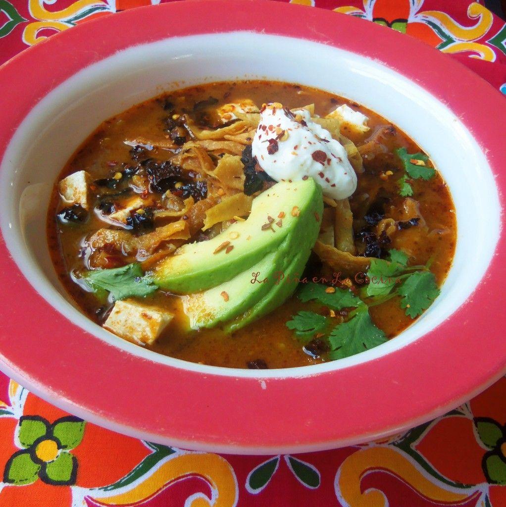 Sopa Azteca Sopa De Tortilla Tortilla Soup La Pina En La Cocina
