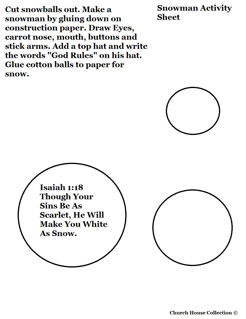 Free Christmas Snowman Cutout Craft For Sunday School Kids By Church