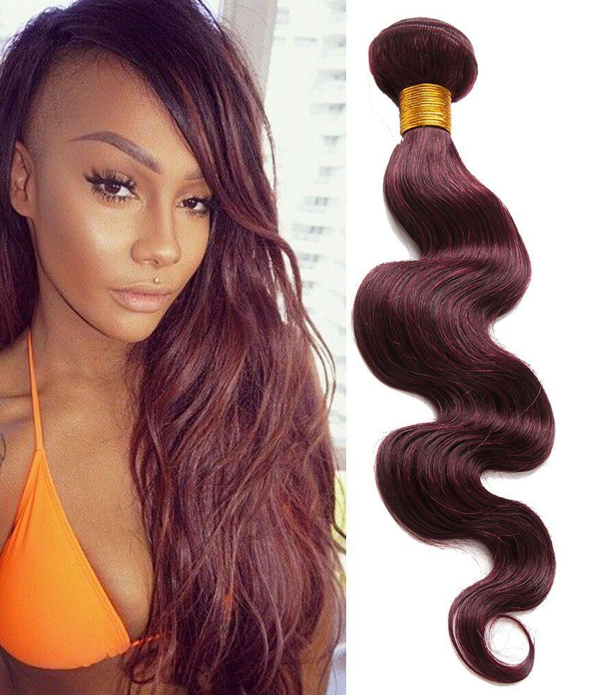 Beauty Human Hair Extensions 10 30 Body Wave Wine Red 99j Haar