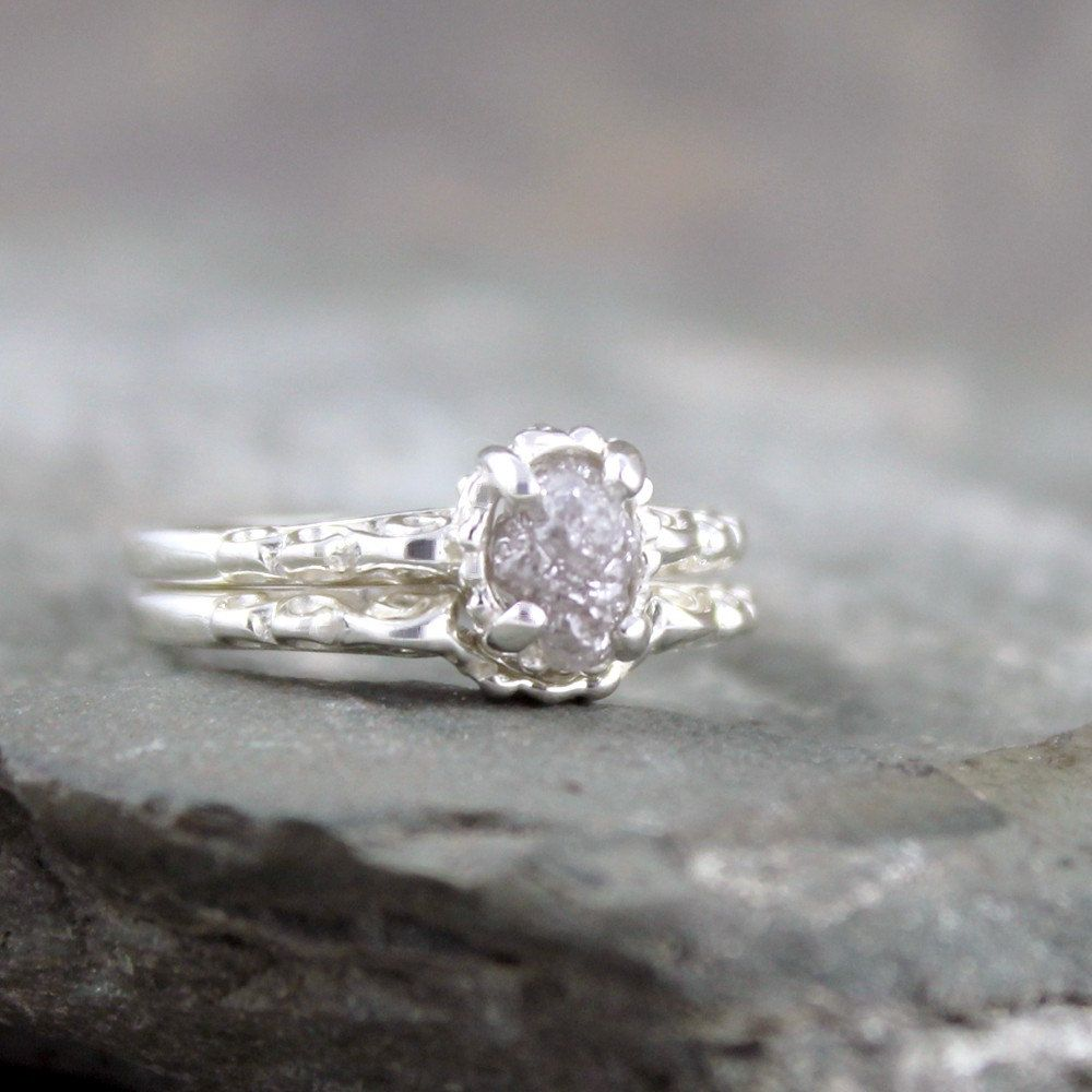 Matching Engagement Ring and Wedding Band - Rough Diamond Rings ... b92e34e76f