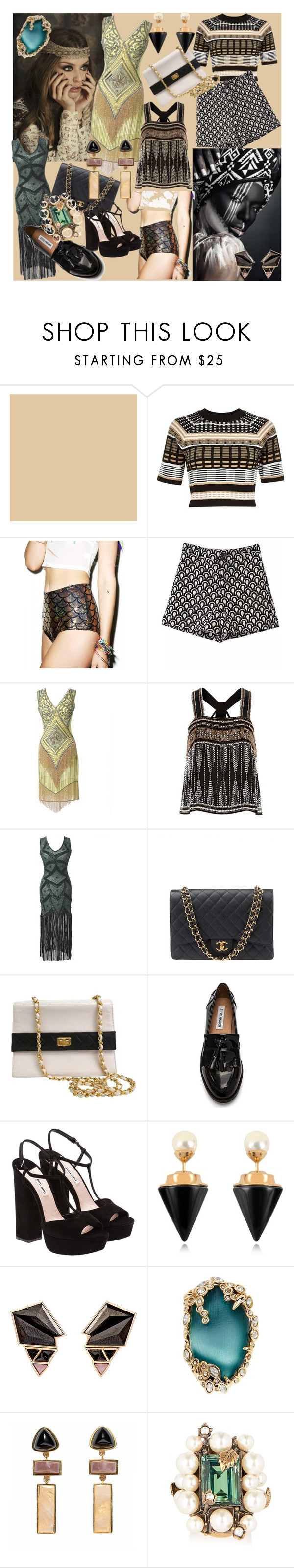 Art Deco by magyar-fruzsina on Polyvore featuring Iconic by UV, River Island, J. Valentine, Steve Madden, Miu Miu, Chanel, Lizzie Fortunato, Gucci, Alexis Bittar and Vita Fede