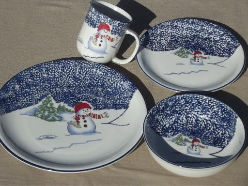 Christmas dishes set for 4 Thompson China winter snowmen spongeware & Christmas dishes set for 4 Thompson China winter snowmen spongeware ...