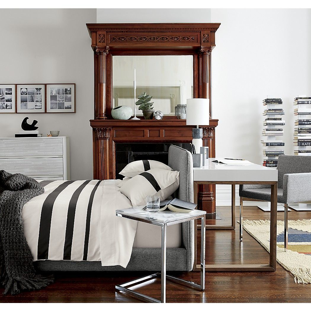 Smart Chrome C Table with White Marble Top Bedroom decor