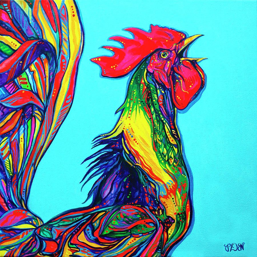 Rooster crow Painting - Rooster crow Fine Art Print - Derrick ...