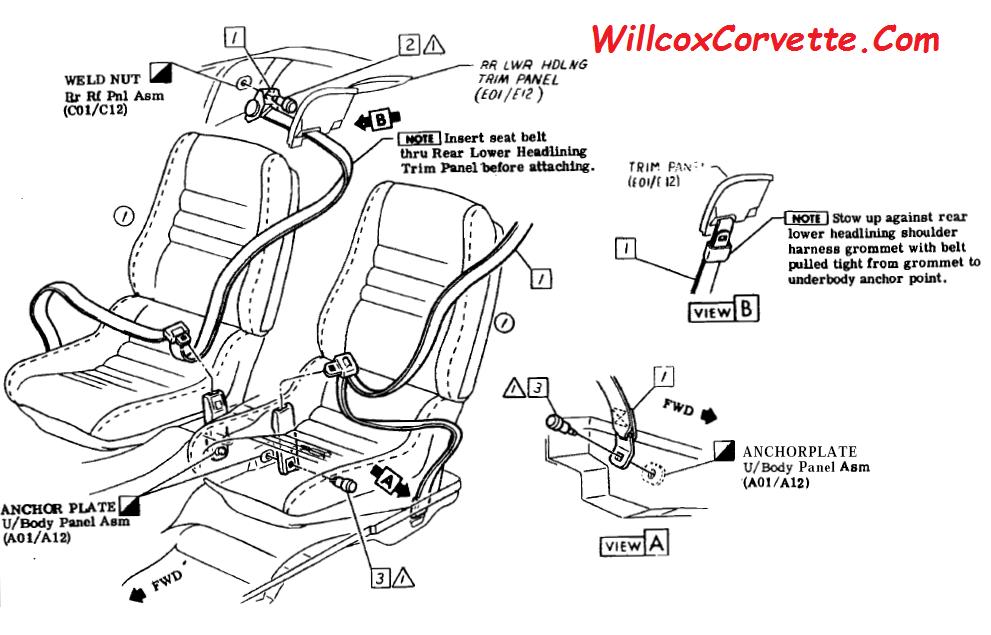 1978 1982 Corvette Seat Belt Mounting Corvette Corvette C3 Seat Belt
