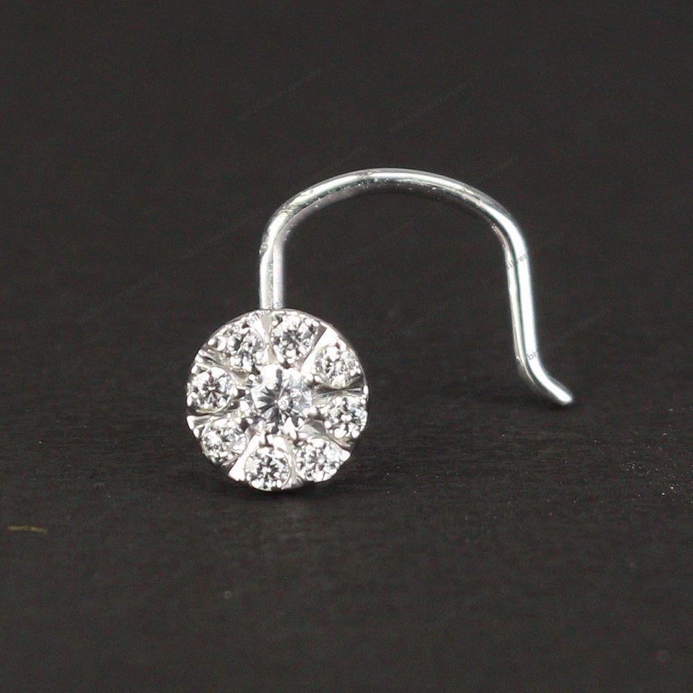 5mm Flower White Diamond 10K White Gold Over Nose Screw Ring Stud 20 Gauge 20G #br925silverczjewelry