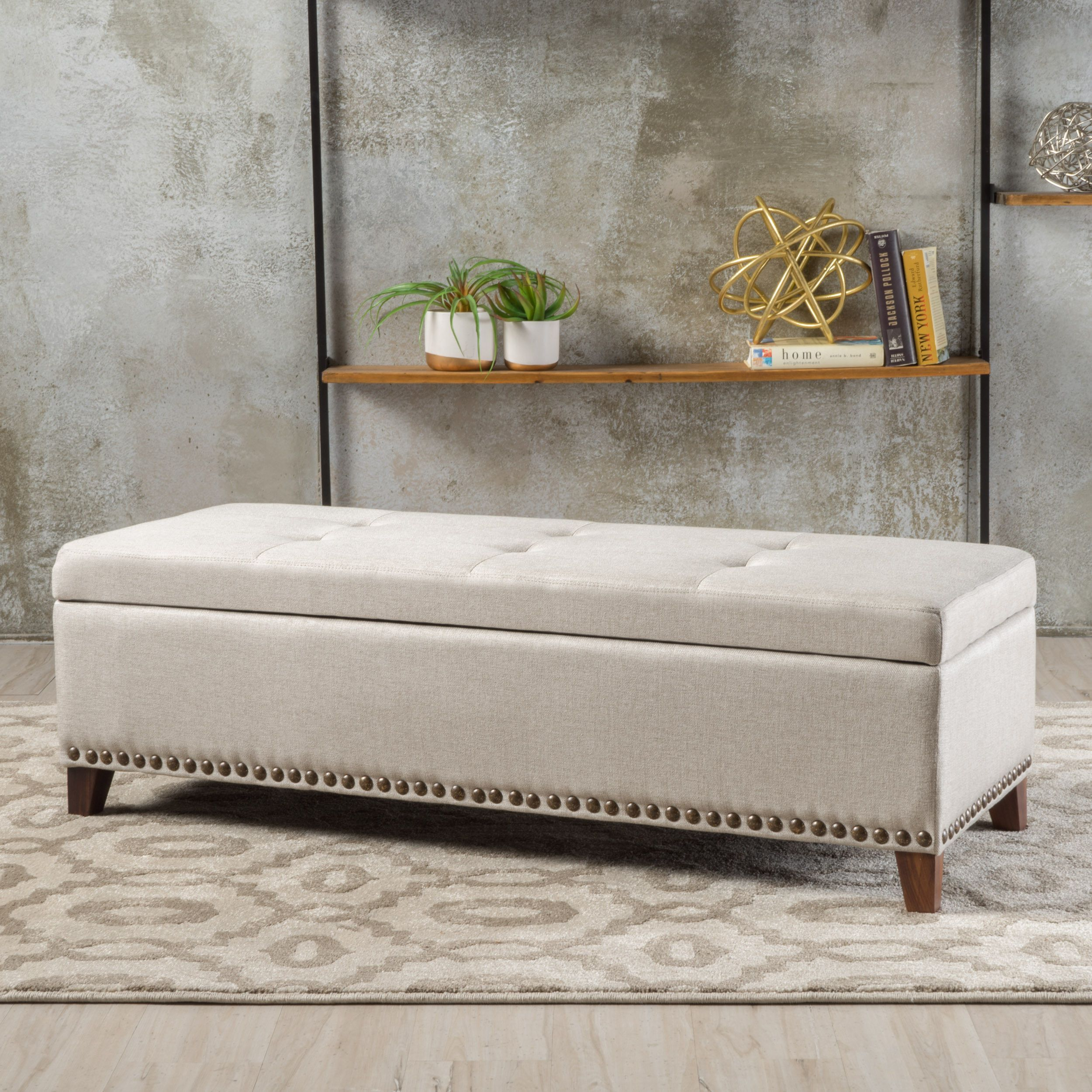Gisele Tufted Cover Beige Fabric Storage Ottoman Products Fabric
