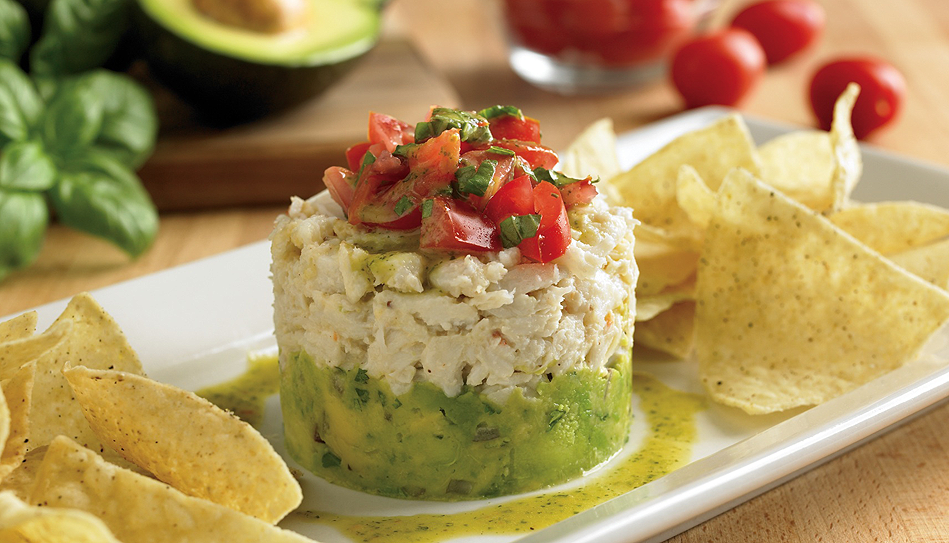 Crab-And-Avocado-Stack (Make this with chicken salad instead of crab and leave out the chips)