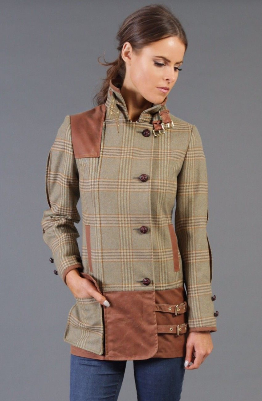 Holland Cooper ladies tweed shooting jacket leverett green ...