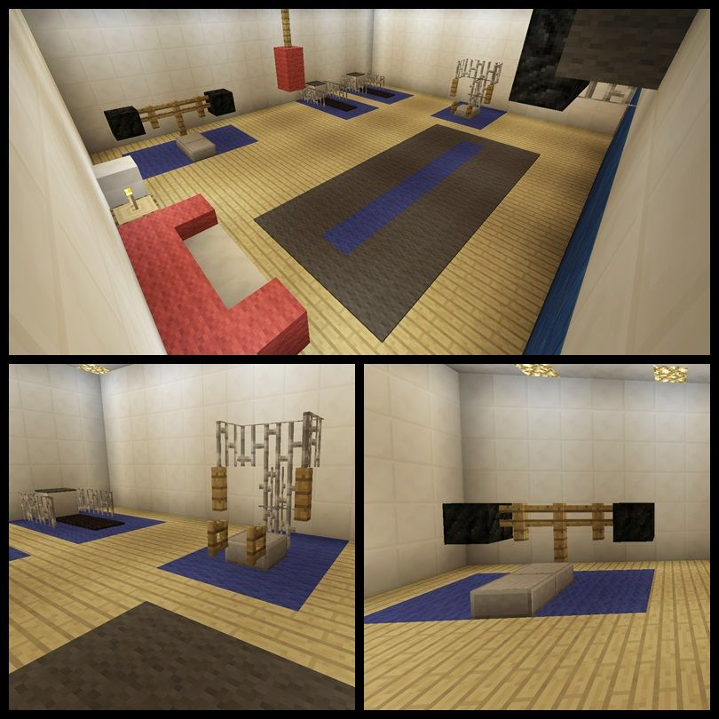 Minecraft Home Gym Equipment Machine Workout Room Creations Treadmill Punching Bag Weights Trendy Home Home Office Layouts Minecraft Interior Design