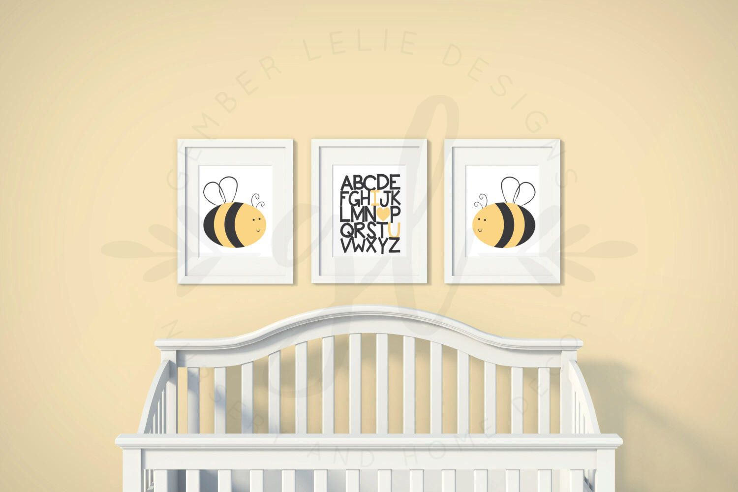 Boys or Girls Nursery Set | Bumble Bee | Alphabet Love | Set of 3 ...