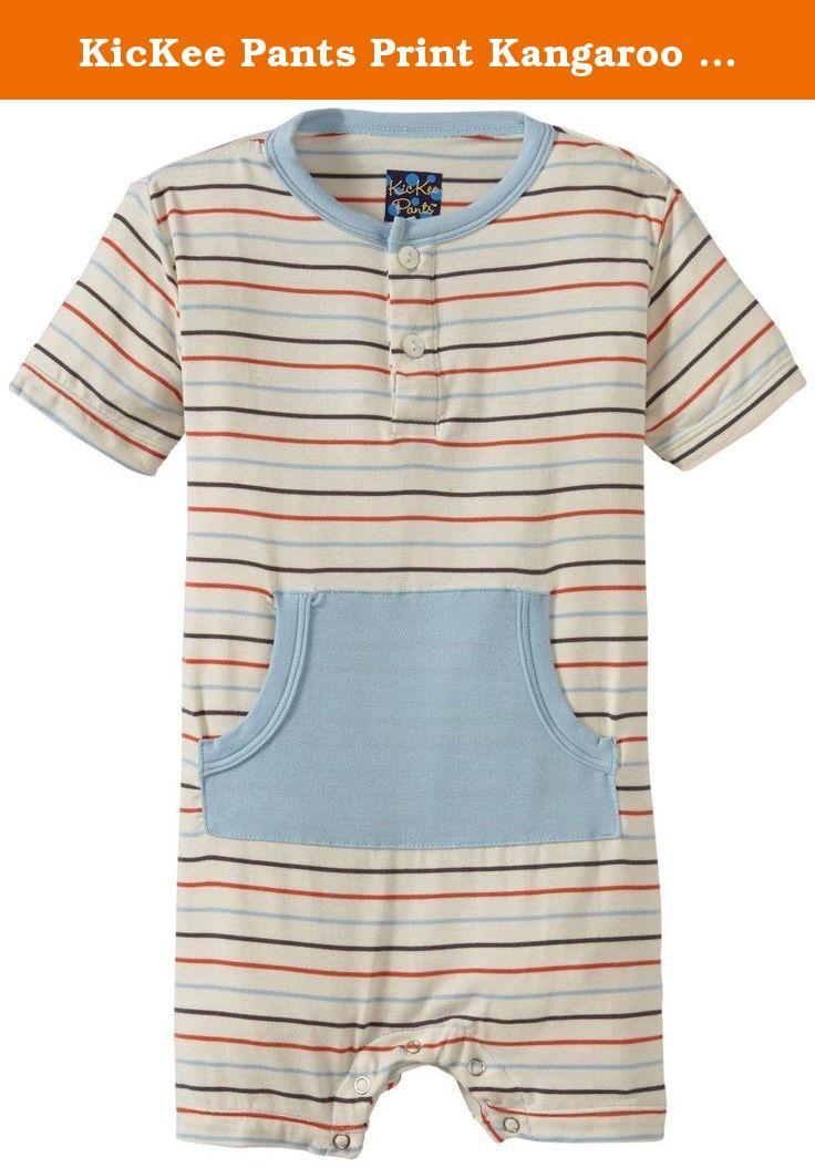 0d318b28c KicKee Pants Print Kangaroo Romper (Baby) - Boy Beach Stripe-6-12 M ...