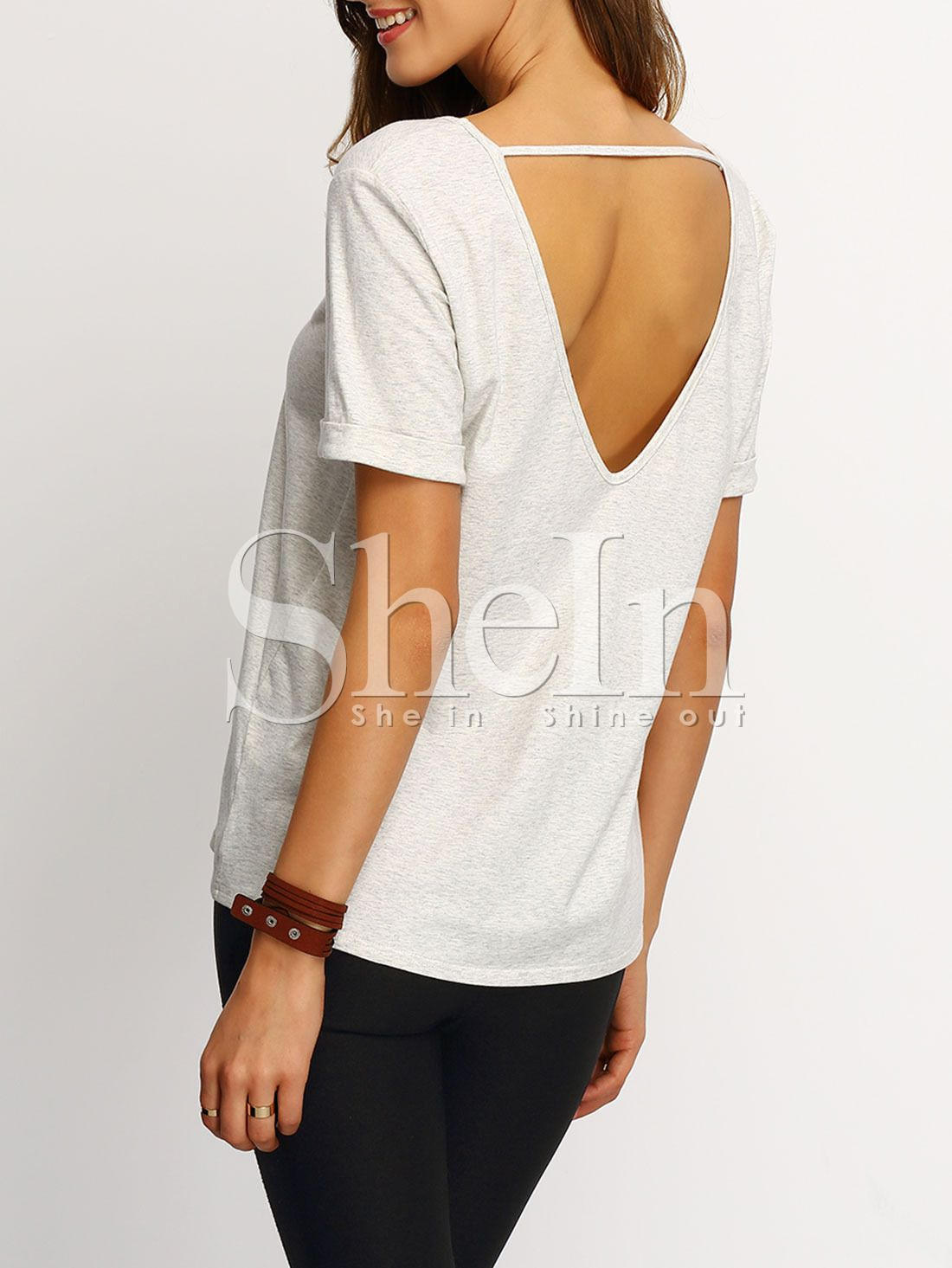 65060bae224c6 Grey+Short+Sleeve+V-cut+Back+T-shirt+9.90 | Oh I like that! _Clothes ...
