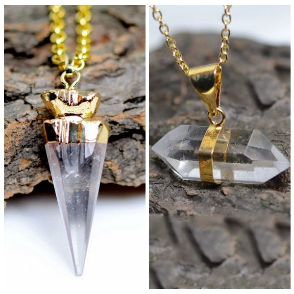 Newly Natural Stone Drop Clear Quartz Pendant Necklace Gold Plated Necklace Chain Wedding Jewelry For Women 2015 Valentines Gift-in Chain Necklaces from Jewelry on Aliexpress.com | Alibaba Group