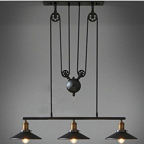 Pulley Industrial Ceiling Light Sun Run Vintage Creative Pulley Pendant Lighting Black Vintage Pendant Lighting Pulley Pendant Light Industrial Light Fixtures