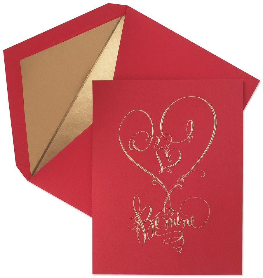 Hand Engraved Calligraphy Valentine Greeting Card Artnouveau