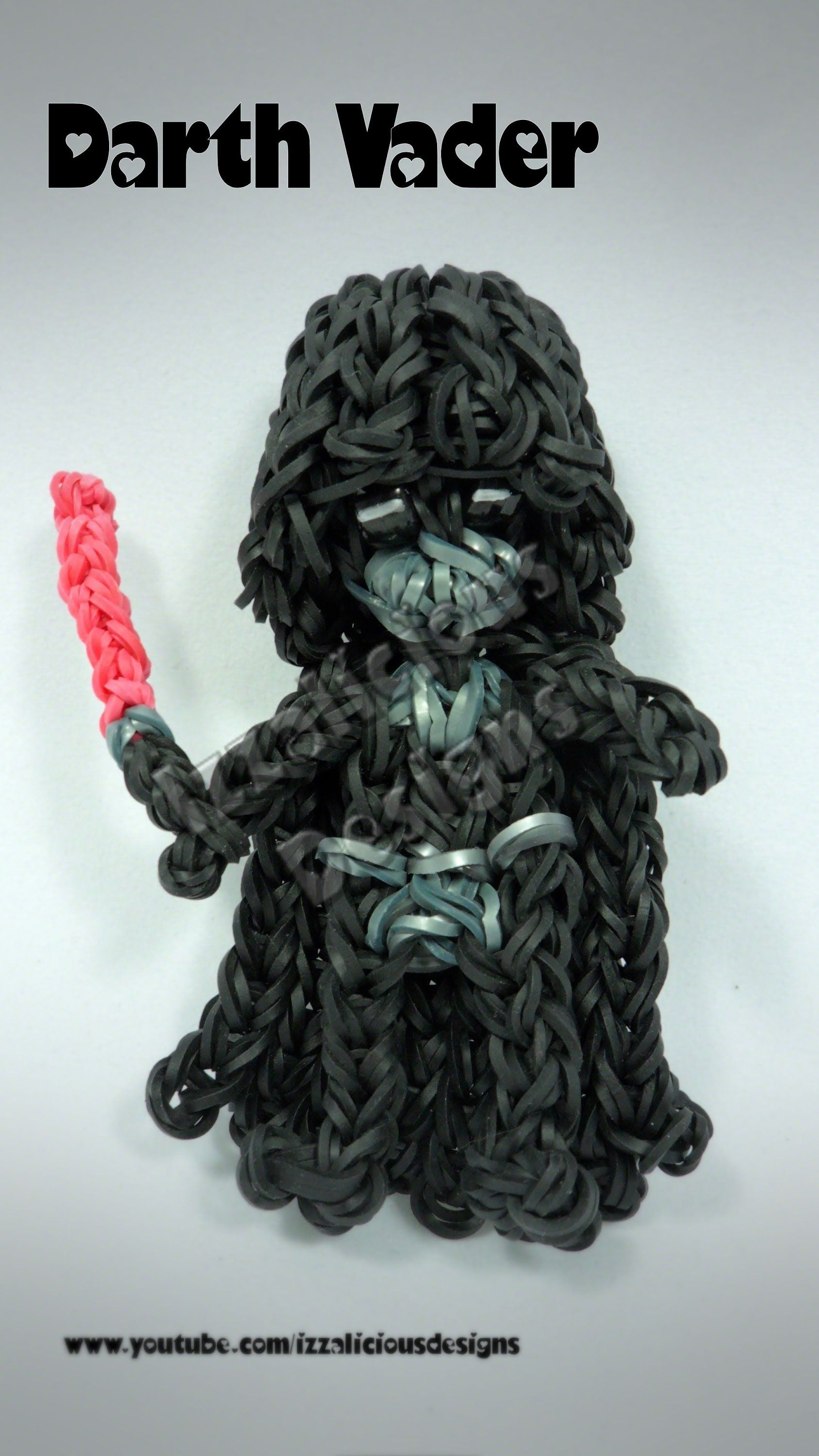 Rainbow loom darth vader charm action figure tutorial by izzalicious