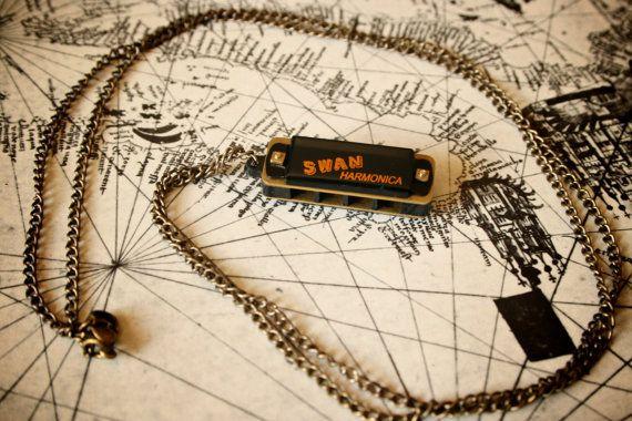 Tiny Harmonica Necklace - Really Works. $14.50, via Etsy.