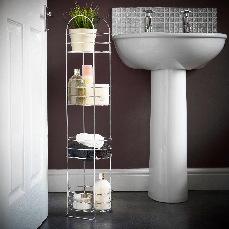 Amazon.com: VonHaus 4 Tier Chrome Bathroom Storage Organizer Stand ...