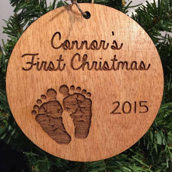 Baby First Christmas Custom Burlap Birth Announcement Onesie Ornament Baby gift Newborn gift Keepsake Ornament