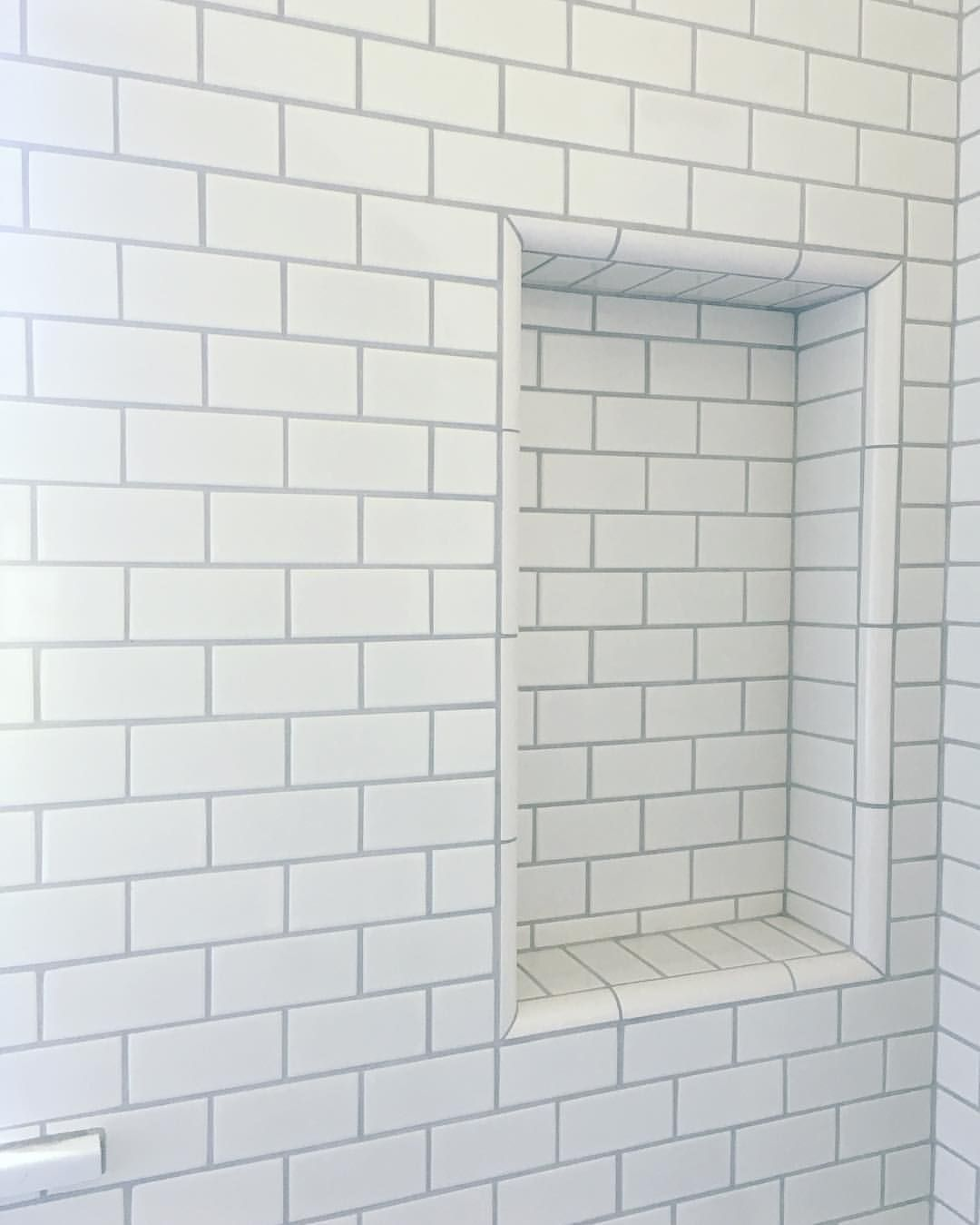 """Annette Tatum Design on Instagram: """"Loving how the platinum grout we chose turned out with the white subway tile for this little boys bathroom"""