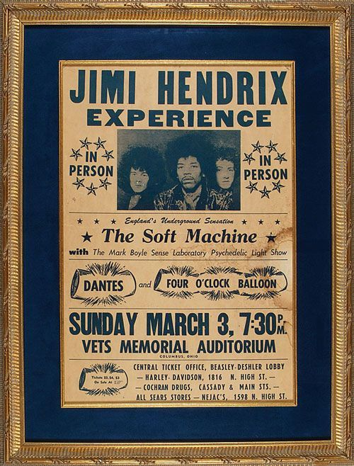 3.3.1968; jimi hendrix experience - soft machine; usa, columbus, vets memorial auditorium; (db)