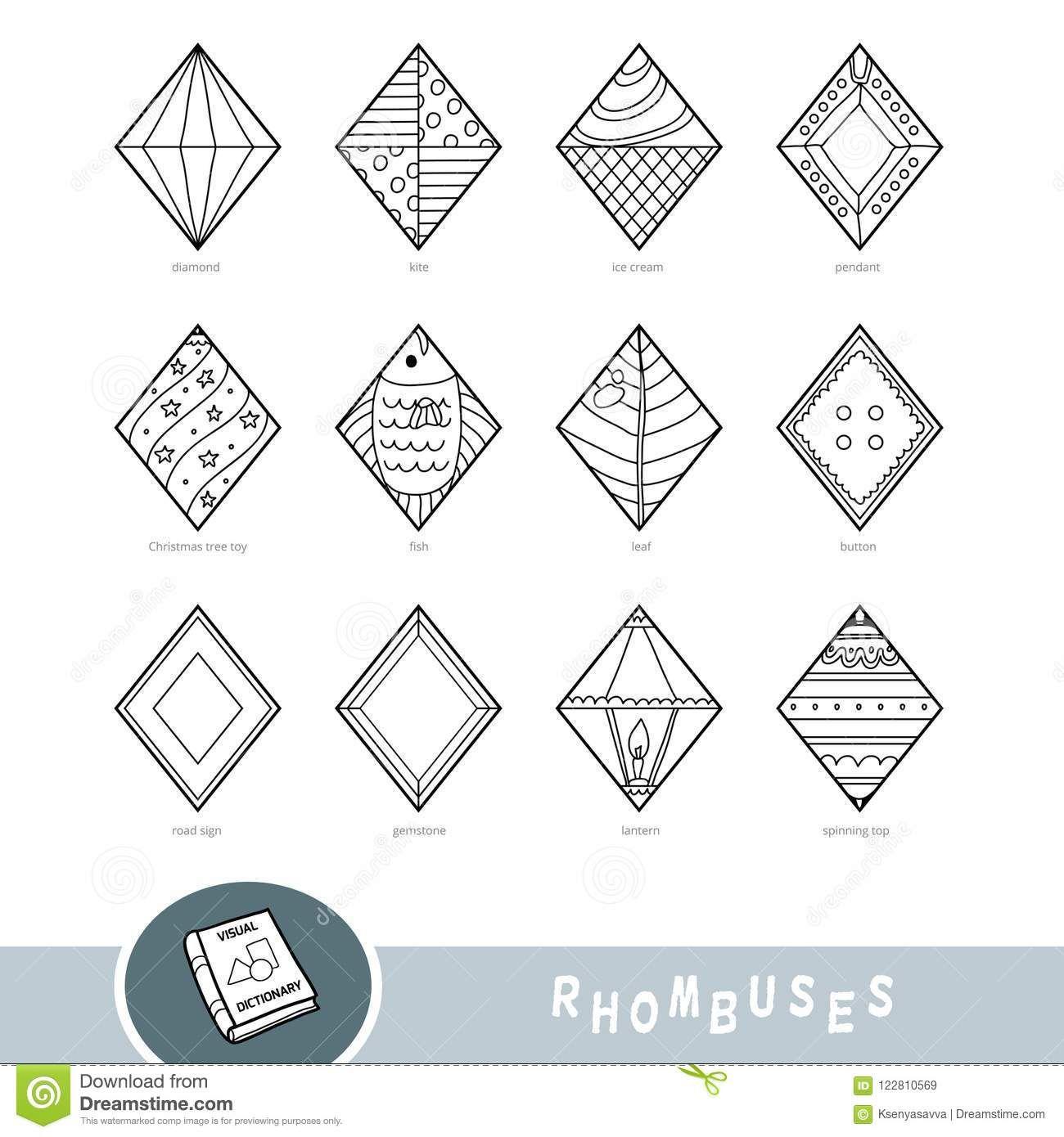 Illustration About Black And White Set Of Rhombus Shape