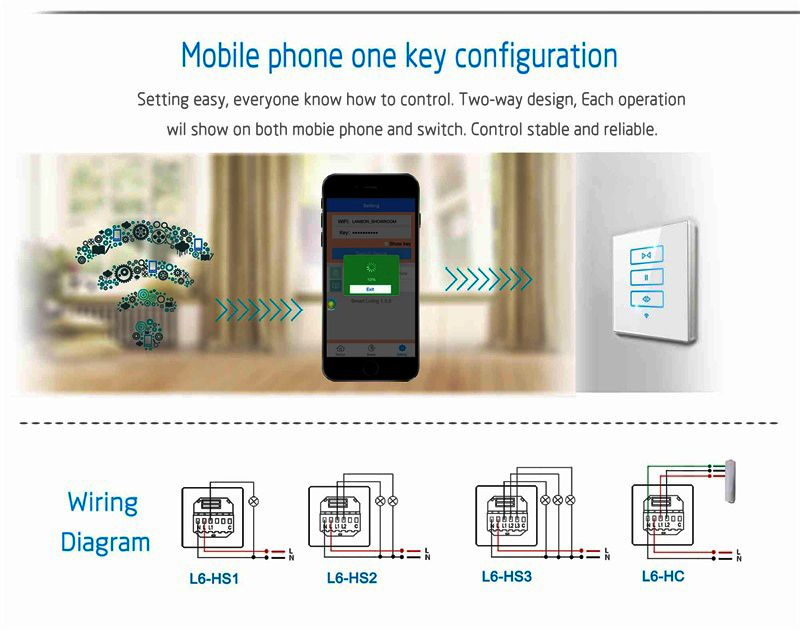 Rectangle Size Smart Curtain Touch Switch Curtain Controller