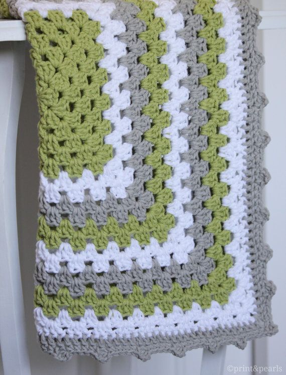 Crochet Lovey, Crochet Baby Blanket, Lime Green and Gray Granny ...