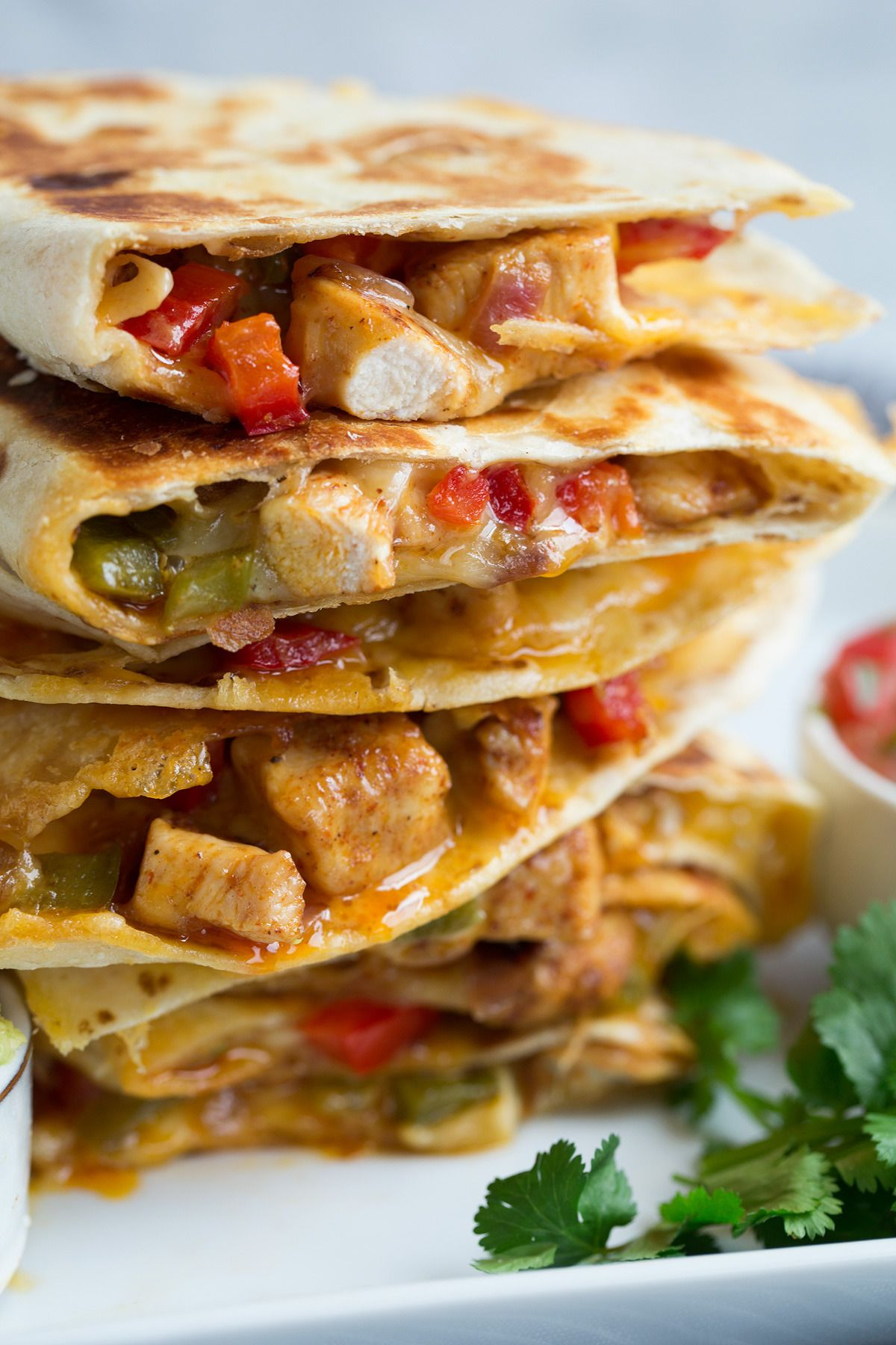 Quesadillas (chicken fajitas style) -